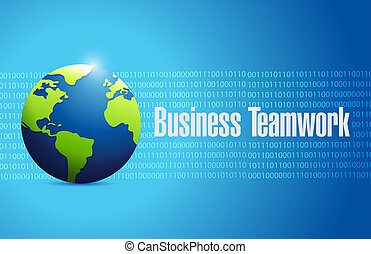 business teamwork binary globe sign concept