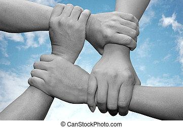 Business TeamWork - business team work with hands