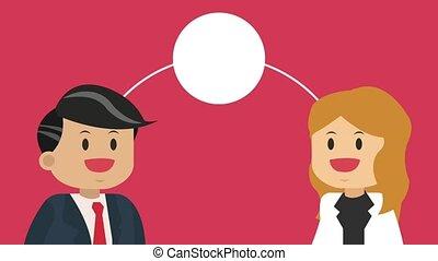 Business teamwork cartoon HD animation