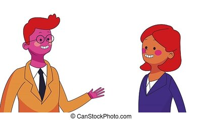 Business teamwork cartoon HD animation - Businessman and...