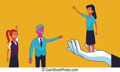 Business teamwork cartoon HD animation - Hand holding...