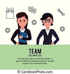 Business teamwork cartoon infographic