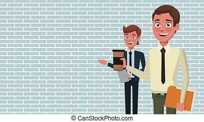 Business teamwork cartoons HD animation