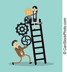 Business teamwork climbing stairs