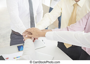 Business teamwork concept. Business people joining hands team spirit in workplace. Power to success. Picture for add text message. Backdrop for design art work.