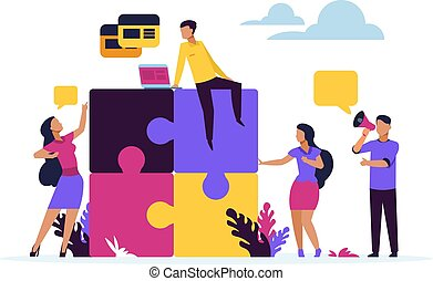 Business teamwork concept. Puzzle elements with cartoon business people, metaphor of partnership and collaboration. Vector design