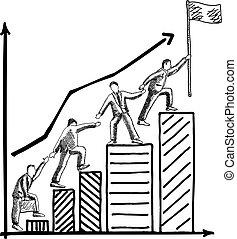 Business teamwork concept vector hand drawn illustration