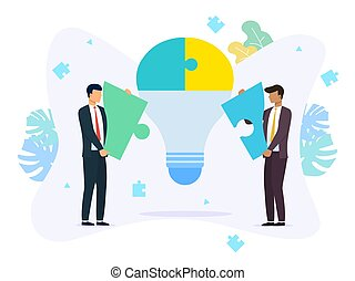 Business teamwork concept with jigsaw puzzle