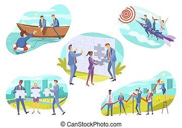 Business, teamwork, cooperation set concept