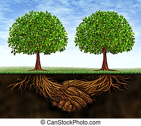 Business teamwork growth as a symbol of financial cooperation and deal making between two partners as trees growing and underground plant roots in the shape of shaking hands resulting in growing success.