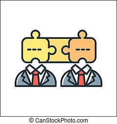 business teamwork icon color