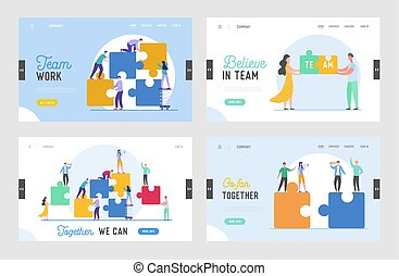 Business Teamwork Landing Page Template Set. Tiny Characters Connecting Puzzle Pieces. Creative Solutions, Collaboration and Partnership with People for Banner, Website. Vector illustration