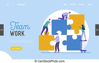 Business Teamwork Landing Page Template. Tiny Characters Connecting Puzzle Pieces. Creative Solutions, Collaboration and Partnership with People for Banner, Website. Vector illustration
