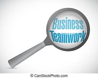 business teamwork magnify glass sign concept
