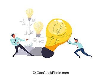 Business teamwork of people pulling lightbulb together vector