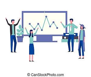 business teamwork people office computer statistics report
