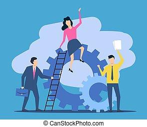 Business, teamwork. People work together. Vector illustration