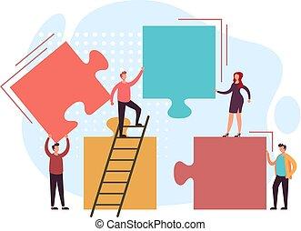 Business teamwork puzzle concept. Vector flat graphic design illustration