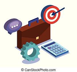 business teamwork set icons