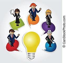 Business teamwork social idea people. - Cartoon people with...