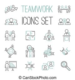 Business teamwork teambuilding outline icons. Business, team...
