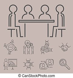Business teamwork teambuilding thin line icons work command ...