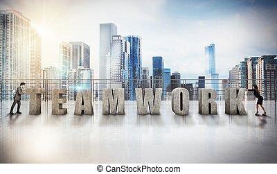 Business teamwork view