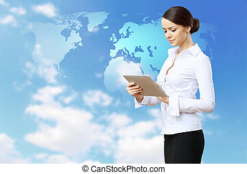 Business technologies today - Young business person working ...