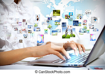 Business technologies today - Young business person working...