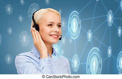 friendly female helpline operator - business, technology and...