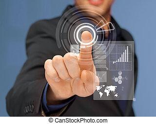 businessman in suit pressing virtual button