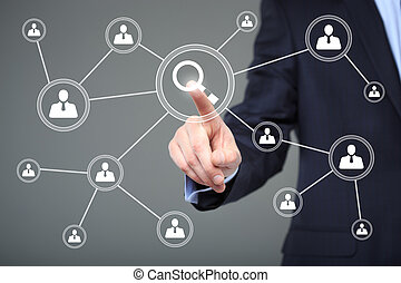 business, technology and internet concept - businessman pressing search button on virtual screens