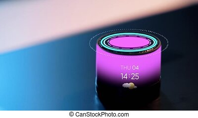 smart speaker with date, time and virtual hologram -...