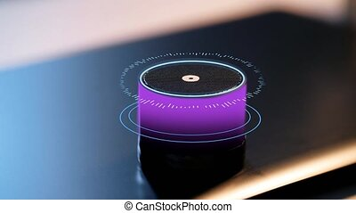 glowing violet smart speaker with virtual hologram -...