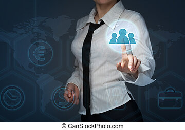 business, technology and internet concept - business woman pressing forex button on virtual screens
