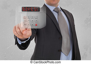 business, technology and security internet concept - businessman pressing button on virtual screens