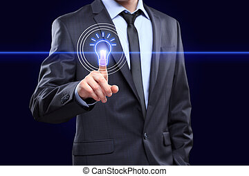 business, technology concept - businessman pressing button with bulb on virtual screens
