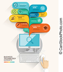 Business technology concept. Computer and bubble speech template. Vector illustration. can be used for workflow layout, diagram, number options, step up options, web design, banner template, infograph