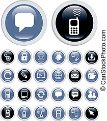 business technology top icons, vector