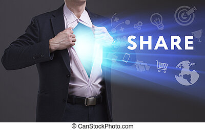 Business, Technology, Internet and network concept. Young businessman shows the word: Share