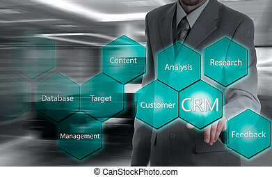 business, technology, internet and customer relationship management concept. Businessman pressing crm button on virtual screens