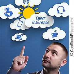 Business, Technology, Internet and marketing. Young businessman thinking about: Cyber insurance