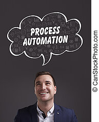 Business, Technology, Internet and marketing. Young businessman thinking about: process automation