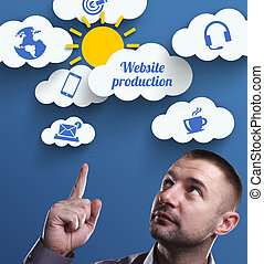 Business, Technology, Internet and marketing. Young businessman thinking about: Website production