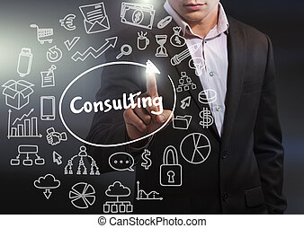 Business, Technology, Internet and network concept. Business man working on the tablet of the future, select on the virtual display: consulting