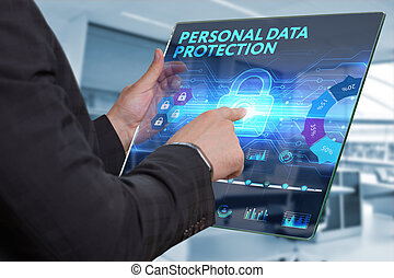 Business, Technology, Internet and network concept. Business man working on the tablet of the future, select on the virtual display: Personal data protection