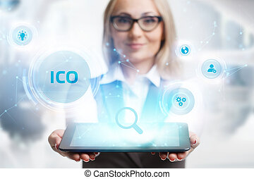 Business, Technology, Internet and network concept. ICO ...