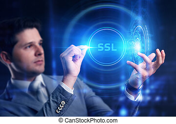 Business, Technology, Internet and network concept. SSL Browser Concept is shown by businessman.
