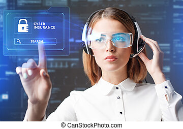 Business, Technology, Internet and network concept. Technology future. Young businesswoman working in virtual glasses, select the icon Cyber insurance on the virtual display