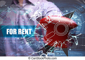 Business, Technology, Internet and network concept. Young businessman breaks the virtual future of the screen on which the inscription: for rent